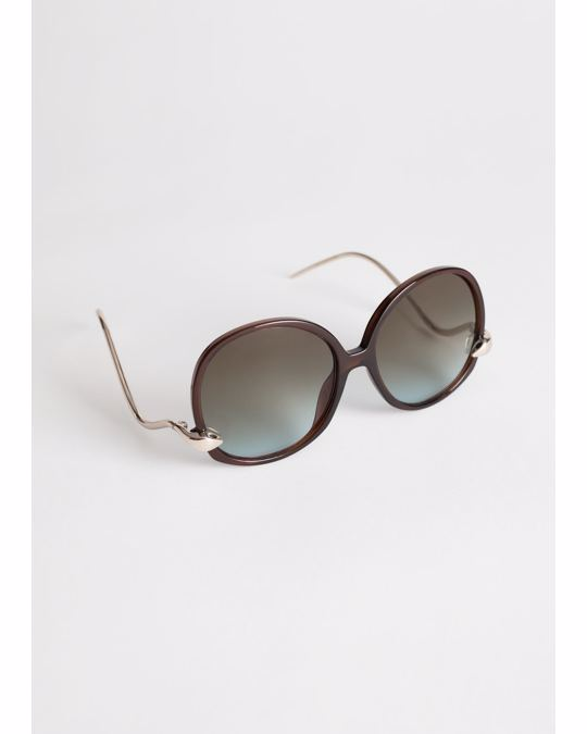 & Other Stories Oversized Retro Circle Sunglasses Burgundy
