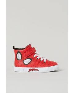 Hohe Sneaker mit Druck Rot/Spiderman