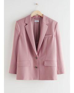 Boxy Single Breasted Blazer Light Pink