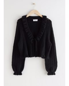 Ruffled Alpaca Blend Knit Cardigan Black