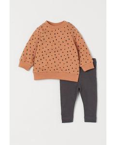 2-teiliges Baumwollset Orange/Gemustert
