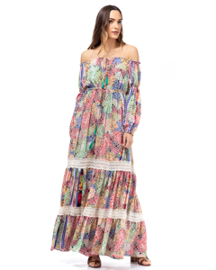 Printed Long Dress With Lace Details And Elastic Boat Neck