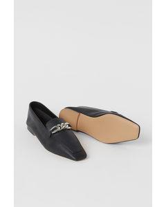 Loafers Met Kettinkje Zwart