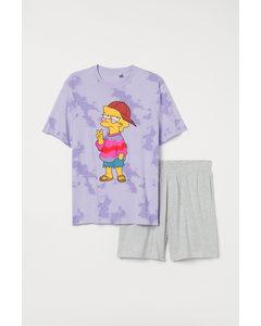 Schlafshirt und Shorts Lila/The Simpsons