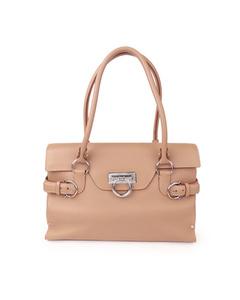 Ferragamo Gancini Leather Handbag Brown