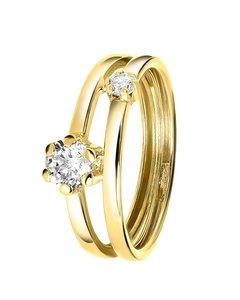 Ring, 375 Gold, 2-1, mit Zirkonia