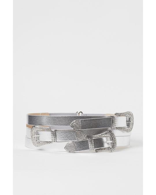 H&M Shimmering Metallic Waist Belt Silver-coloured