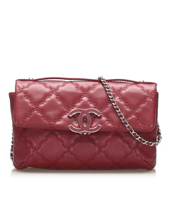 Chanel Caviar Leather Wild Stitch Single Flap Red