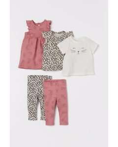 5-teiliges Baumwollset Altrosa/Leoparden