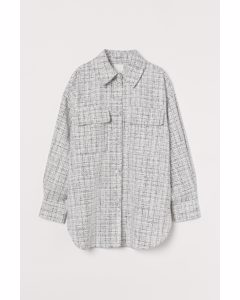 Skjortjacka I Bouclé Ljusbeige/svartrutig