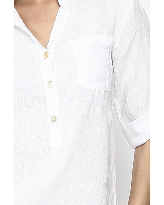 Le Jardin du Lin Pure Linen Tunic Shirt With Long Pockets