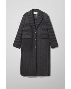 Laya Oversized Tailored Coat Navy/pinstripe
