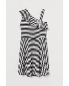 One-Shoulder-Kleid Weiß/Blau gestreift