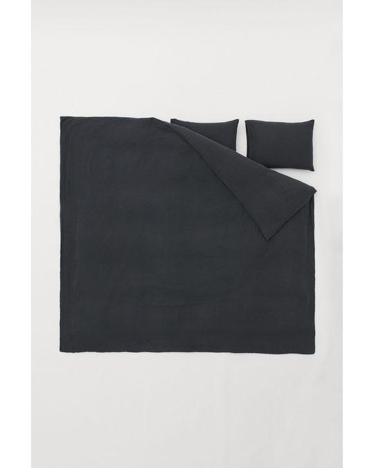 H&M HOME Muslin Duvet Cover Set Anthracite Grey