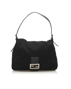 Fendi Mamma Wool Shoulder Bag Black