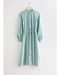 Relaxed Belted Button Up Midi Dress Light Green