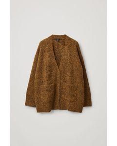 Brushed Alpaca-wool Mix Cardigan Brown Marl