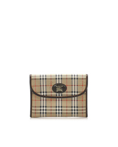 Burberry Haymarket Check Canvas Clutch Bag Brown