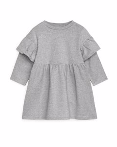 Frill Jersey Dress Grey/silver