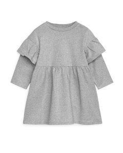 Jerseykleid mit Rüschen Grau/Silber
