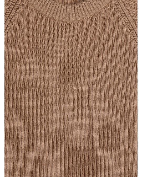 Arket Gerippter Pullover aus Baumwolle und Wolle Beige