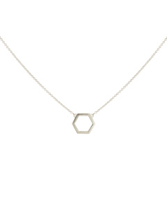 Strict Plain Hexagon Necklace Silver
