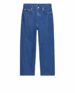 Straight Cropped Jeans Blue