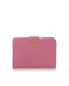 Prada Saffiano Leather Bi-fold Small Wallet Pink