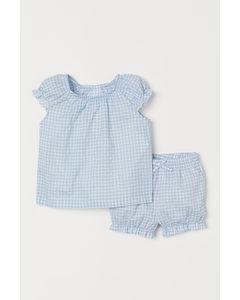 2-teiliges Baumwollset Hellblau/Weiß kariert