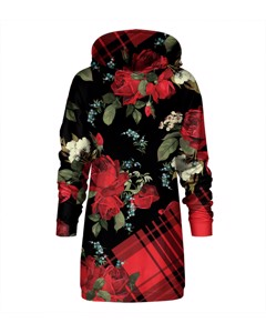 Mr. Gugu & Miss Go Plaid Roses Oversize Hoodie Dress Wine Red