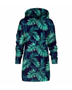 Mr. Gugu & Miss Go Tropical Explosion Oversize Hoodie Dress Deep Green