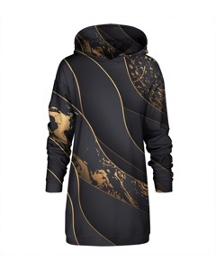 Mr. Gugu & Miss Go Black And Gold Oversize Hoodie Dress Royal Gold