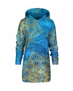 Mr. Gugu & Miss Go Gold Boho Oversize Hoodie Dress Ocean Blue