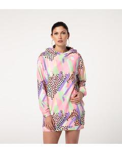 Mr. Gugu & Miss Go Pastel Dots Oversize Hoodie Dress Pastel Pink