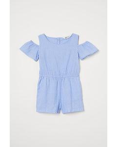 Cold Shoulder-jumpsuit Ljusblå/vitrandig