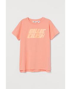 T-Shirt mit Druck Koralle/Billie Eilish