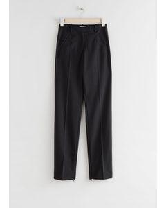 Slim Zip-cuff Trousers Black