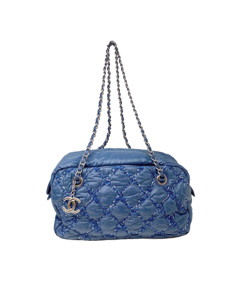 Chanel Paris-byzance Tweed On Stitch Shoulder Bag Blue