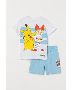 Pyjamas Med Tryck Ljusblå/pokémon