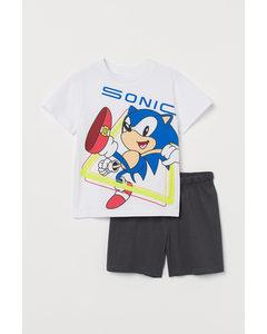 Pyjamas Med Tryck Mörkgrå/sonic The Hedgehog