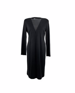 Sportmax Black Wool Long Sleeve Dress With Sheer Panel Size Xl