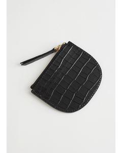 Croc Embossed Leather Card Holder Black Croc