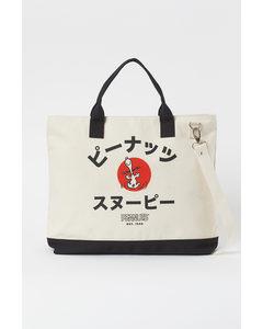 Tasche aus Baumwollcanvas Naturweiß/Snoopy