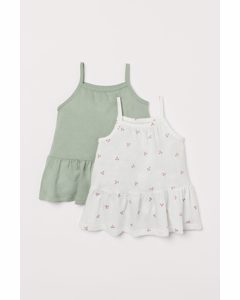 2er-Pack Baumwollkleider Weiß/Kirschen