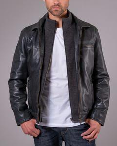 Bruno Stone Leather Jacket Black