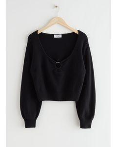 Locker geschnittener Pullover aus Merinowollmischung mit O-Ring Schwarz