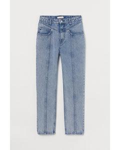 Tapered High Ankle Jeans Ljus Denimblå