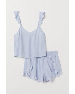 Pyjamas Med Linne Och Shorts Ljusblå/vitrandig