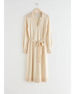 Belted Wool Knit Polo Midi Dress Creme
