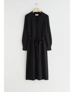 Belted Wool Knit Polo Midi Dress Black